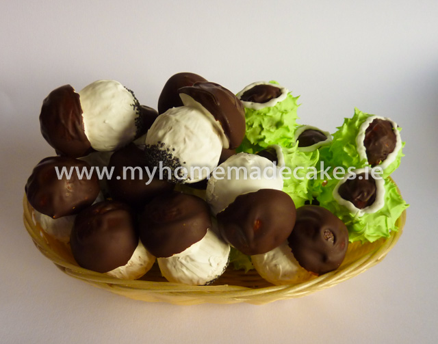 Mushrooms and chestnuts. Decorated with icing and chocolate