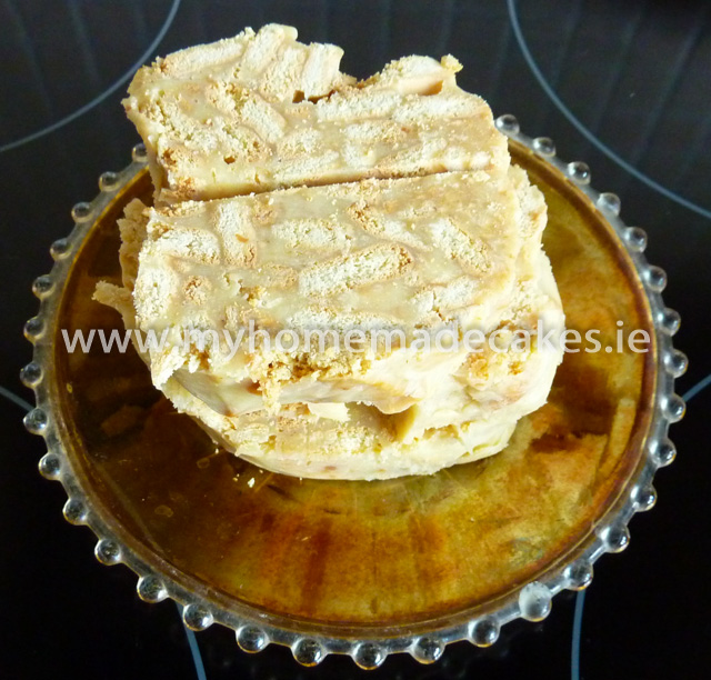 White chocolate biscuit cake