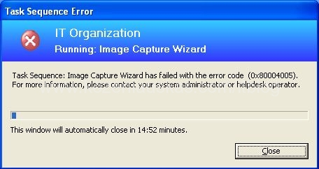 Sccm image capture wizard has failed with error code for Image capture