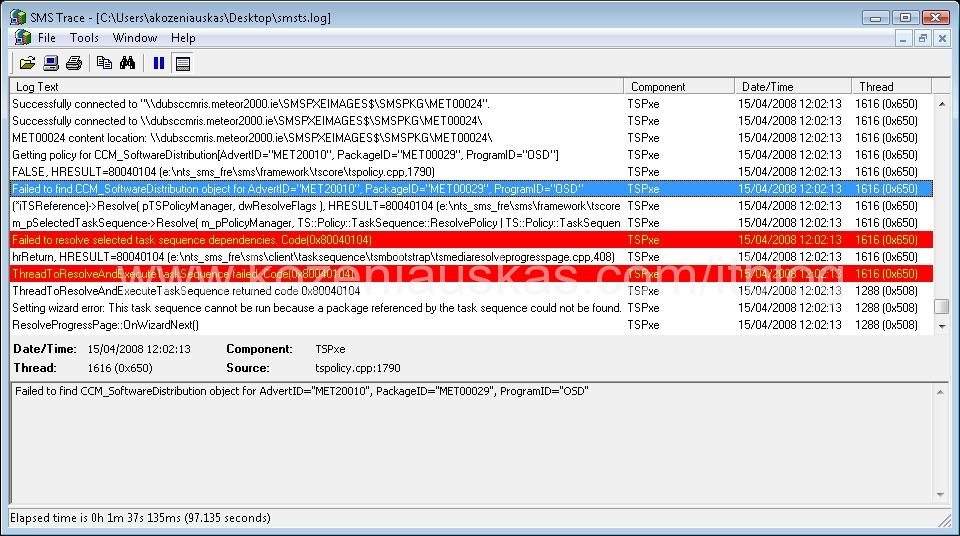 SCCM: Failed to Run Task Sequence | IT Blog